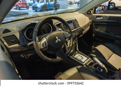 NEW YORK, USA - MARCH 24, 2016: Mitsubishi Lancer interior on display during the New York International Auto Show at the Jacob Javits Center.