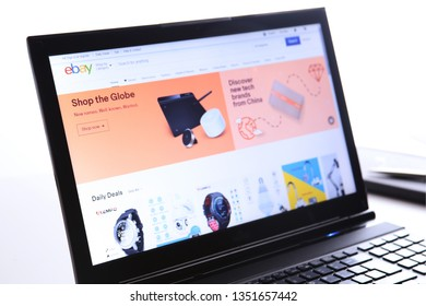 New York, USA - March 25, 2019: Illustrative Editorial of Website of eBay.com. eBay logo visible on display screen.