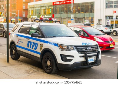 New York, USA - March 26 2019: NYPD cars parked in Chinatown , Manhattan , NYC