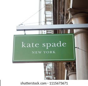 New York, New York, USA - March 27, 2011: A Kate Space sign hangs in the Soho area of downtown Manhattan. Kate Spade is a well known designer of accessories and clothing.