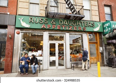New York, New York, USA - March 29, 2012: Since the early 1900's, Russ and Daughters has been a well known source of specialty foods such as smoked fish and caviar.
