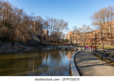 New York, New York USA - March 3 2021: Beautiful Path along the Pond at Morningside Park during Winter in Morningside Heights of New York City