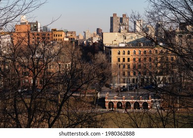 New York, New York USA - March 3 2021: Above view of Morningside Park and the Harlem Skyline in New York City