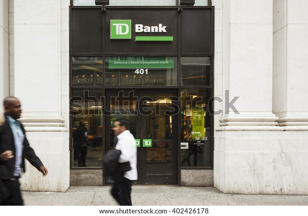 New York, New York, USA - March 31 2016: The exterior of a TD bank branch on 5th avenue in Manhattan.