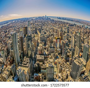 New York, USA - March 7, 2020: View from the Empire state building with midtown and lower Manhattan in afternoon light.