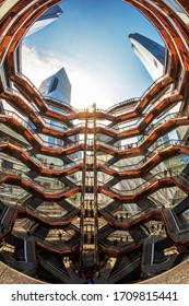 New York, USA - March 8, 2020: The Vessel, project by architect Thomas Heatherwick, also known as Hudson Yards Staircase, in Manhattan.