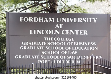 New York, New York, USA - March 8, 2012: A Fordham University sign on the Manhattan campus near Lincoln Center.