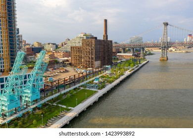 New York, USA. May 01. 2019. Domino Park in Brooklyn, Williamsburg, Old sugar factory. Aerial view.