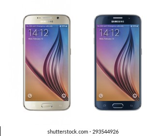 New York, USA - May 01, 2015: Studio shot of a gold and black Samsung Galaxy S6 smartphones, with 16 mP Camera, quad-core 2,7 GHz and 1440 x 2560 pixels Display Resolution.