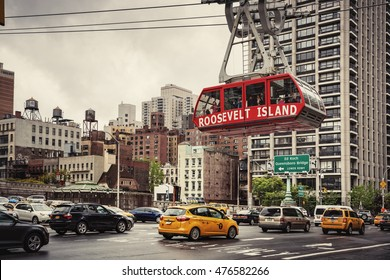 NEW YORK, USA - May 01, 2016: Roosevelt Island cable tram car that connects Roosevelt Island to Manhattan in New York
