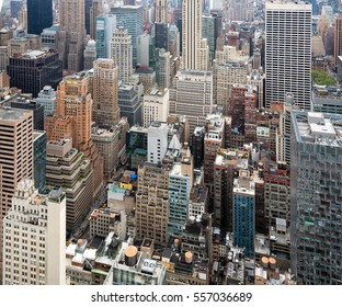NEW YORK, USA - May 03, 2016: The streets and roofs of Manhattan. New York City Manhattan midtown view