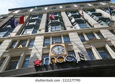 New York, USA - May 04, 2018: Macy's general store building in Manhattan