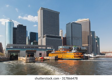 NEW YORK, USA - May 04, 2015: Staten Island Ferry Whitehall Terminal in Lower Manhattan used by Staten Island Ferry, which connects two island boroughs of Manhattan and Staten Island in NYC