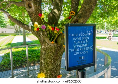 NEW YORK, USA - MAY 05, 2017: Flowers in memorial museum near One World Trade Center, view from street level located in New York City Usa