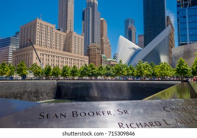 NEW YORK, USA - MAY 05, 2017: Waterfall Footprint of WTC, National September 11 Memorial, in New York, USA