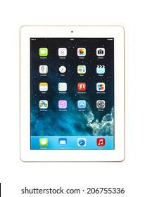 New York, USA - May 08, 2014: Studio shot of a white Apple iPad Mini tablet.