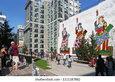 New York, USA - May 1, 2018: Contemporary graffiti on High Line in Manhattan