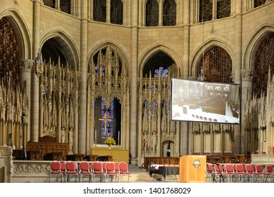 NEW YORK, USA - MAY 10, 2019: MSM Commencement ceremony each May at Riverside Church is important celebration of enormous achievements of graduates. Before ceremony