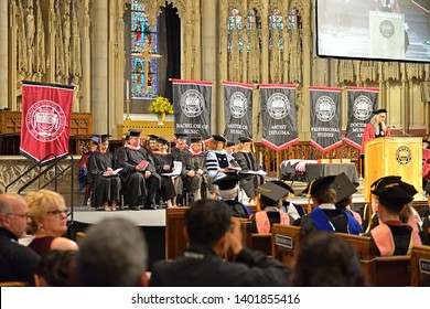 NEW YORK, USA - MAY 10, 2019: MSM Commencement ceremony each May at Riverside Church is important celebration of enormous achievements of graduates