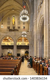 NEW YORK, USA - MAY 10, 2019: MSM Commencement ceremony each May at Riverside Church is important celebration of enormous achievements of graduates. Ceremony guests. Waiting