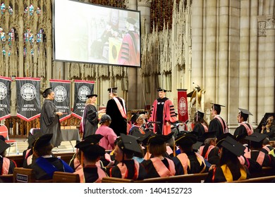 NEW YORK, USA - MAY 10, 2019: MSM Commencement ceremony each May at Riverside Church is important celebration of enormous achievements of graduates. Masters of Music (MM)