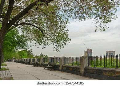 NEW YORK, USA - MAY 10, 2019: Morningside Drive, Morningside Park in Morningside Heights and Harlem