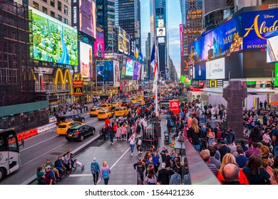 New York, USA. May 10, 2019. Time Square at night with thousand of people and nigh illumination. Beautiful New York.