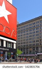 NEW YORK, USA - MAY 11, 2019: People around Macy's Herald Square (originally named R. H. Macy and Company Store), flagship of Macy's department store chain