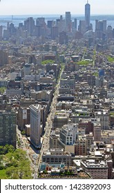 NEW YORK, USA - MAY 11, 2019: Flatiron District, neighborhood in New York City borough of Manhattan, named after Flatiron Building at Broadway and Fifth Avenue