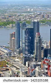 NEW YORK, USA - MAY 11, 2019: Hell's Kitchen, known as Clinton, neighborhood on West Side of Midtown Manhattan. It provides transport and warehouse-infrastructure support to Midtown business district