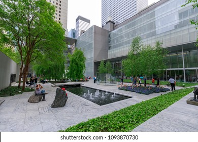 New York, USA - May 12, 2018 : The main garden of MoMA, Museum of Modern Art in Manhattan, NYC
