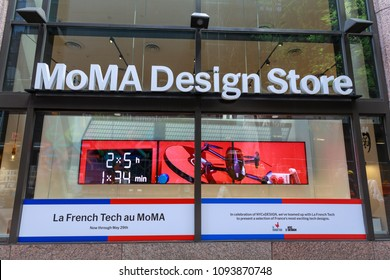 New York, USA - May 12, 2018 : Sign of MoMa Design Store in Manhattan, NYC