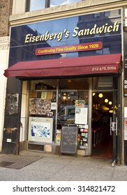 New York, New York, USA - May 12, 2011: Eisenberg's Sandwich Shop is a well known classic New York sandwich shop. It opened over eighty years ago. Flatiron District.
