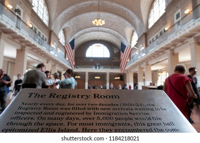 NEW YORK, USA - MAY 15, 2018. National museum of immigration, registry room. Between 1892 and 1954 about 12,000,000 of immigrants passed through.