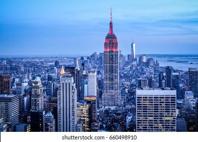NEW YORK, USA - MAY 16,2015: MANHATTAN VIEW AT SUNSET
