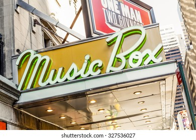 """New York, New York, USA - May 17, 2012: The Music Box Theater marquee. The Music Box Theater is a well known """"Broadway"""" theater located on 45th street in Manhattan's theater district."""