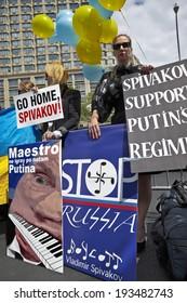 New York, USA -  May 18, 2014;  Ukrainian activists at Lincoln Center protest under the slogan: NEW YORK BOYCOTTS SPIVAKOV!!- Artist Who Supports Putin's Regime