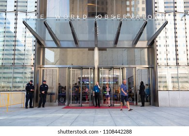 New York, USA - May 2, 2018: Entrance to One World Observatory in Manhattan