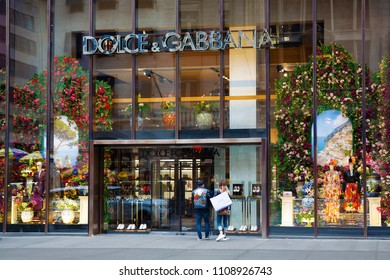 New York, USA - May 2, 2018: Dolce e Gabbana store in central Manhattan