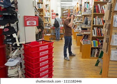 New York, USA - May 2, 2018: Bookshelves in Strand library of Manhattan