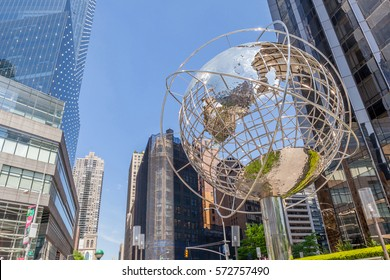 New York, USA- May 20, 2014. Looking Up view of The Globe Sculpture by Kim Brandell at The Trump International Hotel and Tower near the 59th Street Columbus Circle Subway Station, New York,  USA.