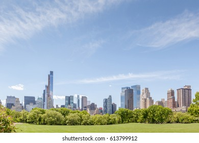 New York, USA- May 20, 2014. New York City Manhattan skyline panorama view from Central park.