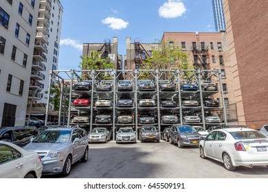 New York, USA- May 20, 2014. Automated car parking system service in New York City.