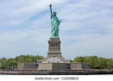 New York, USA - MAY 2015: Statue of Liberty on Liberty Island in New York Harbor, in Manhattan, NY on May 25, 2015. Statue of Liberty is one of the most recognizable landmarks of New York City.