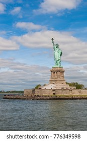 NEW YORK, USA - May 2015: The Statue of Liberty on Liberty Island in New York Harbor, USA. It was designed by French sculptor Frédéric Auguste Bartholdi and built by Gustave Eiffel.