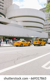 NEW YORK, USA - MAY 2017: Exterior view of the Solomon R. Guggenheim Museum, designed by architect Frank Lloyd Wright, in New York city.