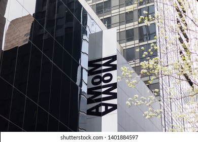 New York, USA - May 2019 - Facade of the Museum of Modern Art MOMA street view.