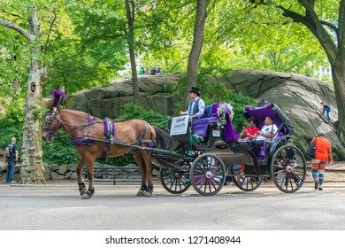 New York, USA - May 21, 2018: People on horse carriage ride in Central Park of New York City. It is a relaxing way for tourists to experience the beauty of the Park.