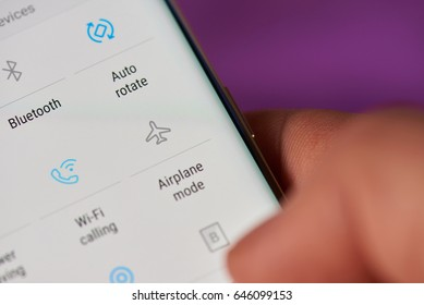 New york, USA - May 22, 2017: Airplane mode on modern phone screen close-up