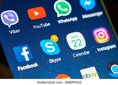 New york, USA - May 22, 2017: Skype app on smartphone screen close up. Icons on digital smartphone screen